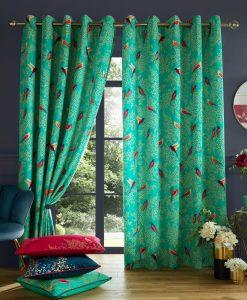 Sara Miller Green Birds Green Curtains